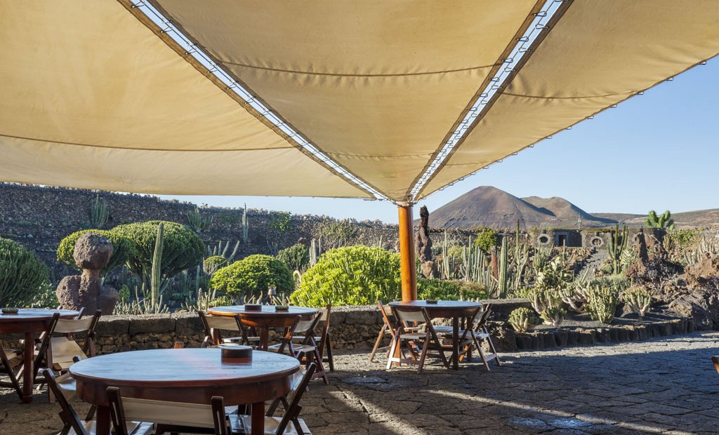 Lanzarote´s beautiful cactus garden at lunchtime